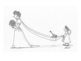 Flower girl holding brides train which is carrying a watering can. - Cartoon Regular Giclee Print by J.P. Rini
