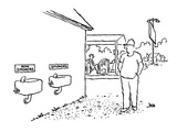 Man at gas station looking at two water fountains, one sign says 'Non Smok… - Cartoon Regular Giclee Print by John Jonik