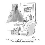 """""""I thought we might get together, maybe do lunch, look over your benefits …"""" - Cartoon Regular Giclee Print by J.P. Rini"""