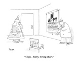 """Oops.  Sorry, wrong chart."" - Cartoon Regular Giclee Print by Jack Ziegler"