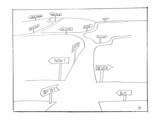 A road with many options that refer to time - New Yorker Cartoon