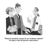 """What if somebody snoops in our medicine cabinet  We don't want the gener…"" - Cartoon Giclee Print by William Haefeli"