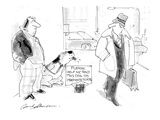 Beggar and dog on sidwalk with sign that reads: Please help me send this d… - Cartoon Giclee Print by Bernard Schoenbaum