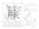 A cat  teacher  points to a diagram of a refrigerator filled with food. Th… - New Yorker Cartoon Premium Giclee Print by Saul Steinberg