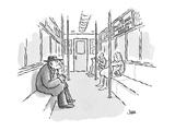 "decrepit old man sitting on subway; sign across from him:  ""No muttering u…"" - Cartoon Regular Giclee Print by John Jonik"