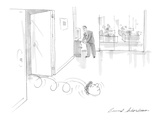 Man's head rolls out of boss's office into hallway. - Cartoon Regular Giclee Print by Bernard Schoenbaum
