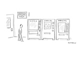 Man walks by a row of vending machines, there  are signs on thesevending m… - Cartoon Regular Giclee Print by Liza Donnelly