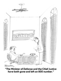 """The Minister of Defense and the Chief Justice have both gone and left an …"" - Cartoon Regular Giclee Print by Boris Drucker"