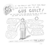 advertisement for a talking doll called 'Gus Guilt®', which lays guilt-tri… - Cartoon Regular Giclee Print by Roz Chast