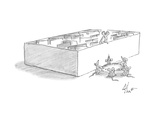 mouse stands on the ledge of a maze while a group of mice hold a sheet und… - Cartoon Regular Giclee Print by Frank Cotham
