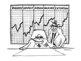 Crime bosses with graphs behind them showing increases in robbery, assault… - Cartoon Regular Giclee Print by Lee Lorenz
