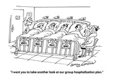 """I want you to take another look at our group hospitalization plan."" - Cartoon Regular Giclee Print by Jerry Marcus"