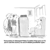 """Fortunately Al videotaped Walter Cronkite's final years on T.V. just in c…"" - Cartoon Regular Giclee Print by Harley L. Schwadron"
