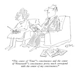 """The center of 'Time' 's consciousness and the center of 'Newsweek' 's con…"" - New Yorker Cartoon Premium Giclee Print by Dean Vietor"