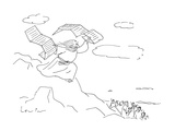 Moses descends the mountain with computer printouts of the Ten Commandment… - Cartoon Regular Giclee Print by Arnie Levin