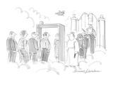 Arriving souls at the Pearly Gates have to go through a metal detector. - Cartoon Regular Giclee Print by Bernard Schoenbaum