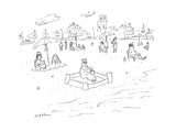 Man wearing a crown sits in a sand castle on the beach. - Cartoon Regular Giclee Print by Michael Maslin