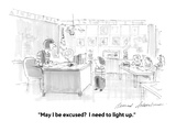 """May I be excused  I need to light up."" - Cartoon Regular Giclee Print by Bernard Schoenbaum"