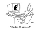 """""""What does this icon mean"""" - Cartoon Regular Giclee Print by Ted Goff"""
