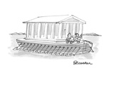 Ancient Parthenon-like structure mounted on boat with many oar ports. - Cartoon Giclee Print by Boris Drucker