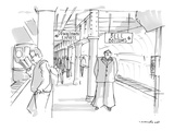 subway platform has two signs:  Downtown Express and Bell Bottoms; smiling… - Cartoon Regular Giclee Print by Michael Crawford