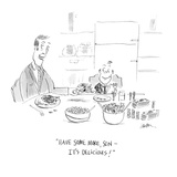 """Have some more, son — it's delicious!"" - Cartoon Regular Giclee Print by Mary Lawton"