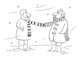 Two men wearing scarfs standing in front of each other in the middle of wi… - Cartoon Regular Giclee Print by Arnie Levin