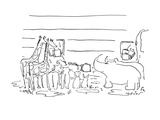 Variety of animals with their suitcases stand in front of an arc waiting t… - Cartoon Regular Giclee Print by Arnie Levin