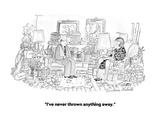 """I've never thrown anything away."" - Cartoon Giclee-trykk av Victoria Roberts"