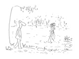 Man walking by lake sees arm of drowning person sticking out of the water … - Cartoon Regular Giclee Print by Arnie Levin