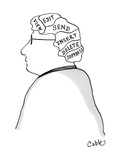 Man's brain is divided into these sections: View, Edit, Send, Insert, Dele… - Cartoon Regular Giclee Print by Carole Cable