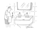 man approaches bathroom sink which has faucets labeled 'leaded' and 'unlea… - Cartoon Regular Giclee Print by Harley L. Schwadron