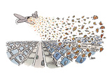 Autumn's leaves falling from airplane onto suburbs - Cartoon Regular Giclee Print by John Jonik
