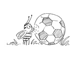 Bee stands with a puzzled look as he knocks on a soccer ball waiting for a… - Cartoon Regular Giclee Print by Arnie Levin