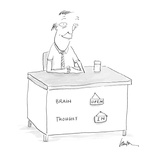 [man's desk has on its front:  Brain  - Cartoon Regular Giclee Print by Mary Lawton