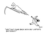 """Hey!  You!  Come back with my laptop's batteries!"" - Cartoon Regular Giclee Print by Ted Goff"