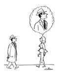 Woman walks along and sees clergyman.  She imagines him without the Roman … - New Yorker Cartoon Premium Giclee Print by Sam Cobean