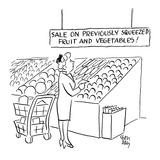 woman looks at sign in the produce section of a supermarket which reads 'S… - Cartoon Regular Giclee Print by Chon Day
