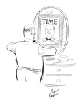 Man stands in front of mirror adjusting his bow tie; in the mirror their i… - New Yorker Cartoon Premium Giclee Print by Richard Decker