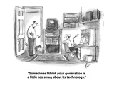 """Sometimes I think your generation is a little too smug about its technolo…"" - Cartoon Regular Giclee Print by Frank Cotham"