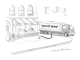 Large tanker truck, with 'White Wine' lettered on side, pumps wine into re… - Cartoon Giclee Print by Bernard Schoenbaum