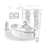 librarian with a sign behind her that reads 'Thank You for Not Speaking' - Cartoon Regular Giclee Print by Frank Cotham
