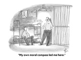 """My own moral compass led me here."" - Cartoon Regular Giclee Print by Frank Cotham"