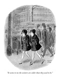 """It seems to me the winters are colder than they used to be."" - New Yorker Cartoon Premium Giclee Print by Robert J. Day"