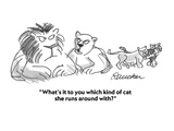 """What's it to you which kind of cat she runs around with"" - Cartoon Regular Giclee Print by Boris Drucker"