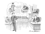 Young suave attorney, cross-examining older, heavy man, fancies himself as… - Cartoon Regular Giclee Print by Bernard Schoenbaum
