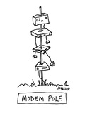 Modem Pole - Cartoon Giclee Print by Peter Mueller