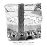 """High inside. Ball three. Count is now three balls and two strikes. Here c…"" - New Yorker Cartoon Premium Giclee Print by Robert J. Day"