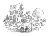 the Old Woman Who Lived in a Shoe, here walking in shoes that are miniatur… - Cartoon Regular Giclee Print by John Jonik