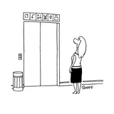 Women stands in front of elevator looking up at the signs trying to deciph… - Cartoon Regular Giclee Print by Ted Goff